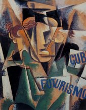 Liubov Popova, Study for a Portrait 1914-15 Abstracted portrait with face fractured into planes.