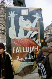 Photograph of protesters demonstrating in London against the American air strikes in Fallujah, Iraq (2004)