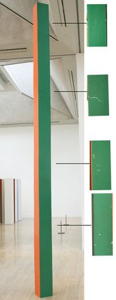 The overall view on the left shows one of the columns after cleaning and retouching of paint losses. Philip King, Call