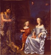 The painting during cleaning Hayls Portrait of a Lady and a Boy with Pan