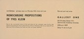 Private view card for Yves Klein's solo exhibition Monochrome Propositions at Gallery One 1957