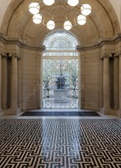 No Title by Richard Wright, view of flooring and window in Tate Britain