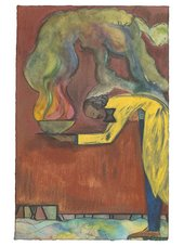 Chris Ofili Artwork for Tate Members commission showing a painting of a hunched over man in a long yellow coat holding a cauldron of fire