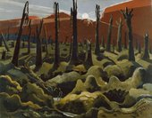 Painting of Paul Nash We are Making a New World 1918 showing a war torn landscape