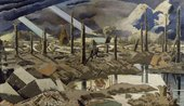 Painting of a war torn landscape (Paul Nash The Menin Road 1919)