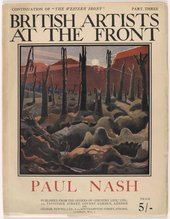 Magazine cover of British Artists at the Front: Volume 3 showing war torn landscape painting 'We are making a new world' by Paul Nash