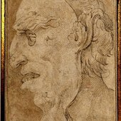 Parmigianino's Profile Head Study of a Man wearing a Mask, 16th century. Jean-Luc Baroni