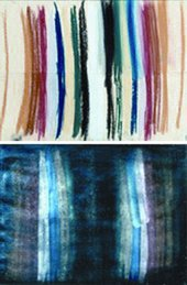 Pastel sample (above) and offset on glass after glass tape has been removed (below)