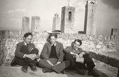 Patrick Heron Peter Lanyon and Giles Heron on a rooftop in San Gimignano 1953