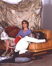 portrait of Paula Rego on a chair