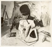 Peter Lanyon working on a sculpture of a bull in his studio Little Parc Owles Cornwall circa 1958