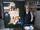 Peter Blake in his studio with his work He meets the Spice Girls and Elvis 2000–5