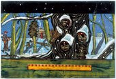 Peter Doig Art School 1990 painting of a tree with squirrel like creatures faces peering out from the trunk a hunter and his dog are in the snowy landscape