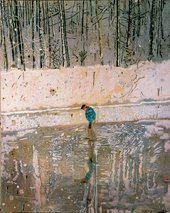 Peter Doig Blotter 1993 painting of a man standing in a pond surrounded by snow and woods