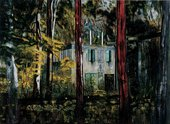 Peter Doig Boiler House 1994 view of a building through the trees and woods