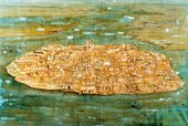 Peter Doig Bomb Island 1991 painting with an aerial view of a round island populated with buildings in the sea