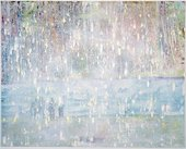 Peter Doig Cobourg 3 + 1 more 1994 painting of a group of people standing at the shore of a lake or rive with woods on the other side The image is almost obliterated by a white haze