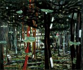Peter Doig Concrete Cabin 1991 view of a Le Corbousier modernist building through woods and trees