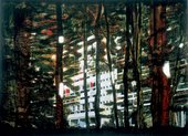 Peter Doig Concrete Cabin II 1992 view of a Le Corbousier modernist building through woods and trees