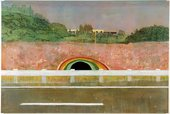 Peter Doig Country Rock 1998 to 1999 painting of mudane landscape with the roadside but a drainage tunnel is lined with colours to look like a rainbow