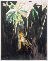 Peter Doig Fisherman 2002 painting of a man in the jungle carrying a net