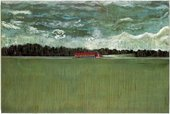 Peter Doig Hitch Hiker 1989 to 90 a red transporter lorry driving down a road from the vantage point of over a field against the backdrop of a stormy sky