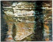 Peter Doig Jetty 1994 distant image of a man standing on the jetty of a lake with a canoe floating nearby The lake is surrounded by snowy mountains