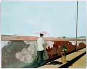 Peter Doig Lapeyrouse Wall 2004 painting of a man walking along the pavement with is back to the viewer it is a very sunny day with a clear sky and the man has shading himself with an umbrella