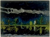 Peter Doig Milky Way 1989 to 90 landscape painting with the milky way visible in the sky and also reflected in a lake