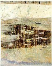 Peter Doig Window Pane 1993 painting of a partially melted pond surrounded by snow