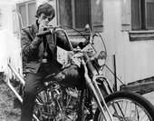 Film still from The Wild Angels, showing the actor Peter Fonda on a motorbike 1966