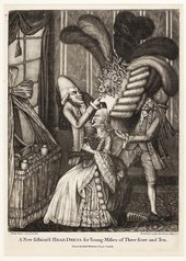 Philip Dawe A new fashiond head dress for the young misses of three score and ten 1777 a woman being fitted with an enormous feathered head dress