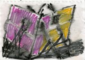 Drawing in yellow, purple and black pen