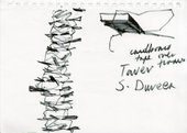 A drawing by Phyllida Barlow in black of the tower installation in the Duveens gallery at Tate Britain