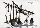 A drawing by Phyllida Barlow of a construction in the Octagaon at Tate Britain