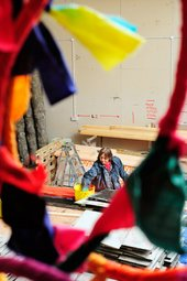 Phyllida Barlow in her studio in the middle of her work