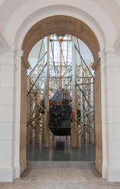 A component of Phyllida Barlow's installation at Tate Britain - large construction in the Duveens Gallery