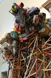 A component of Phyllida Barlow's installation at Tate Britain - a tall construction of wood and found materials