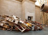 A component of Phyllida Barlow's installation at Tate Britain - a flat construction of wood