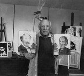 André Gomés - Picasso in his studio in the country house Notre Dame de Vie with the portraits of the Rousseaus 1965