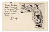 Postcard written by Piet Mondrian with a cut out of the seven dwarves from Walt Disneys Snow White sent to his brother Carel from London in 1938