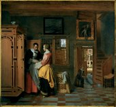 Pieter de Hooch Interior With Woman Beside a Linen Chest 1663