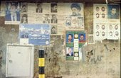 Martyr and political posters on a wall in the Bashoura area of Beirut 1997