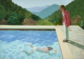 Painting showing a hilly mountain landscape and a person swimming underwater in an outdoor swimming pool whilst a person stands and watches