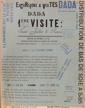 Poster for the tour around St Julien le Pauvre church in Paris led by Andre Breton and Tristan Tzara as part of the Dada season of 1921