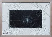 Regular cobweb breakage pattern of standard low reflective glass fitted in frame with window mount
