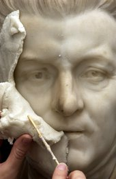 Poultice removal on Reynolds sculpture by Foley