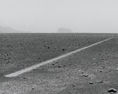 Richard Long Dusty Boots Line Sahara 1988 a straight line marked out in the barren pebbly land