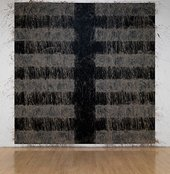Richard Long Earth 2009 mud applied to the wall in a striped pattern on a black background