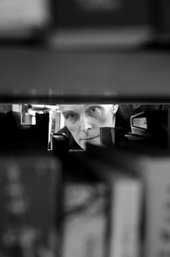 Richard Wentworth in Archive Bookstore, London, photographed by Josh Wright